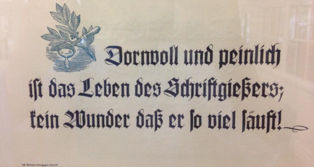 Leitsatz für Schriftgießer in Wilhelm-Klingspor